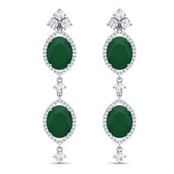 15.81 CTW Royalty Emerald & VS Diamond Earrings 18K White Gold - REF-309N3Y - 38904