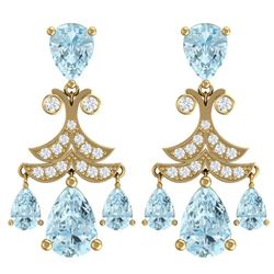 11.35 CTW Royalty Sky Topaz & VS Diamond Earrings 18K Yellow Gold - REF-130K2R - 38726