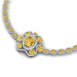 42.53 CTW Royalty Canary Citrine & VS Diamond Necklace 18K White Gold - REF-818R2K - 39342