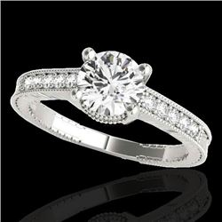 1.45 CTW H-SI/I Certified Diamond Solitaire Antique Ring 10K White Gold - REF-200N2Y - 34756