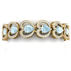 33.43 CTW Royalty Sky Topaz & VS Diamond Bracelet 18K Yellow Gold - REF-594M5F - 38696