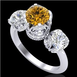 3 CTW Intense Yellow Diamond Solitaire Art Deco 3 Stone Ring 18K White Gold - REF-418Y2N - 37434