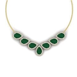 34.72 CTW Royalty Emerald & VS Diamond Necklace 18K Yellow Gold - REF-690T9X - 38828