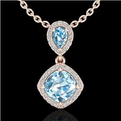 3.50 CTW Sky Blue Topaz & Micro VS/SI Diamond Necklace Designer Halo 10K Rose Gold - REF-45H3W - 205