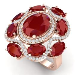 9.86 CTW Royalty Designer Ruby & VS Diamond Ring 18K Rose Gold - REF-218X2T - 39295