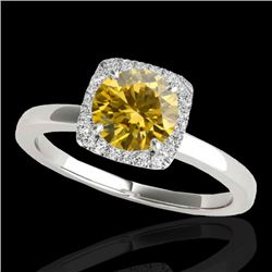 1.15 CTW Certified Si Fancy Intense Yellow Diamond Solitaire Halo Ring 10K White Gold - REF-163N5Y -