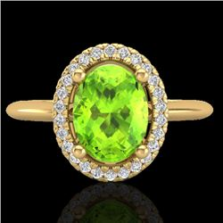 1.75 CTW Peridot & Micro VS/SI Diamond Ring Solitaire Halo 18K Yellow Gold - REF-51M3F - 21017