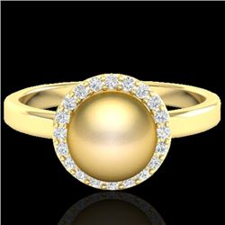 0.25 CTW Micro Pave Halo VS/SI Diamond Certifieden Pearl Ring 18K Yellow Gold - REF-53W6H - 21632