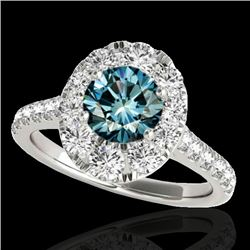 2 CTW SI Certified Blue Diamond Solitaire Halo Ring 10K White Gold - REF-210F9M - 34083