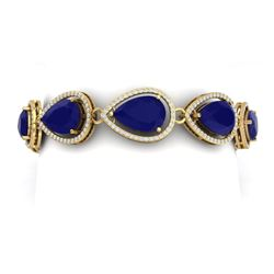 42.47 CTW Royalty Sapphire & VS Diamond Bracelet 18K Yellow Gold - REF-536H4W - 39563