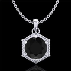 0.82 CTW Fancy Black Diamond Solitaire Art Deco Stud Necklace 18K White Gold - REF-54F5M - 38045