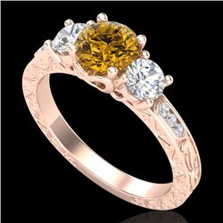 1.41 CTW Intense Fancy Yellow Diamond Art Deco 3 Stone Ring 18K Rose Gold - REF-180R2K - 37764