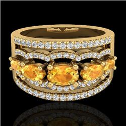 2.25 CTW Citrine & Micro Pave VS/SI Diamond Certified Designer Ring 10K Yellow Gold - REF-71W8H - 20
