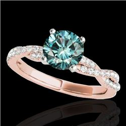 1.25 CTW SI Certified Fancy Blue Diamond Solitaire Ring 10K Rose Gold - REF-152W5H - 35238