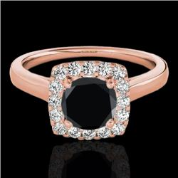1.37 CTW Certified Vs Black Diamond Solitaire Halo Ring 10K Rose Gold - REF-68H2W - 33413