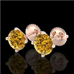 2.5 CTW Intense Fancy Yellow Diamond Art Deco Stud Earrings 18K Rose Gold - REF-354F5M - 38254