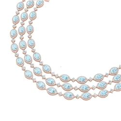 84.57 CTW Royalty Sky Topaz & VS Diamond Necklace 18K Rose Gold - REF-1436R4K - 38953