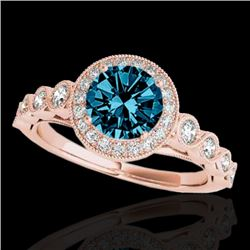 1.5 CTW SI Certified Fancy Blue Diamond Solitaire Halo Ring 10K Rose Gold - REF-178F2M - 33604