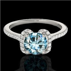 1.33 CTW SI Certified Fancy Blue Diamond Solitaire Halo Ring 10K White Gold - REF-163W5H - 33294