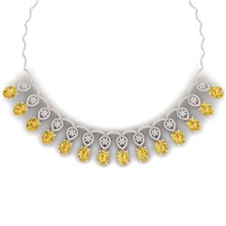 53.57 CTW Royalty Canary Citrine & VS Diamond Necklace 18K Rose Gold - REF-927K3R - 39076