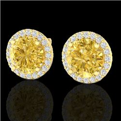 4 CTW Citrine & Halo VS/SI Diamond Micro Pave Earrings Solitaire 18K Yellow Gold - REF-62W2H - 21487