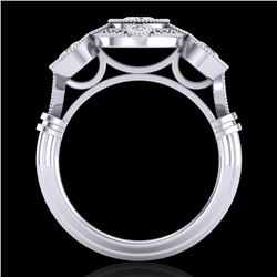 1.51 CTW VS/SI Diamond Solitaire Art Deco 3 Stone Ring 18K White Gold - REF-300R2K - 36986