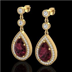 4.50 CTW Garnet & Micro Pave VS/SI Diamond Earrings Designer 18K Yellow Gold - REF-66K8R - 23119