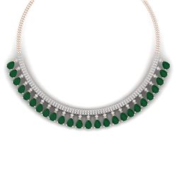 51.75 CTW Royalty Emerald & VS Diamond Necklace 18K Rose Gold - REF-1072T8X - 38872