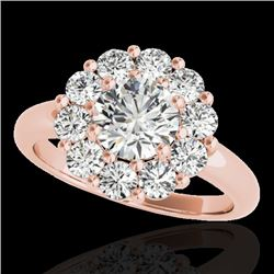 2.09 CTW H-SI/I Certified Diamond Solitaire Halo Ring 10K Rose Gold - REF-250X9T - 34424
