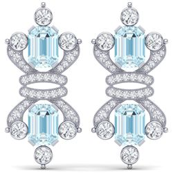 28.39 CTW Royalty Sky Topaz & VS Diamond Earrings 18K White Gold - REF-490H9W - 38769