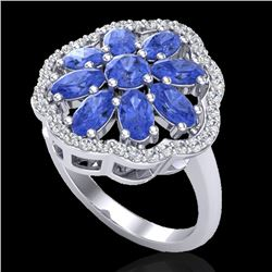 3 CTW Tanzanite & VS/SI Diamond Cluster Designer Halo Ring 10K White Gold - REF-67F5M - 20789