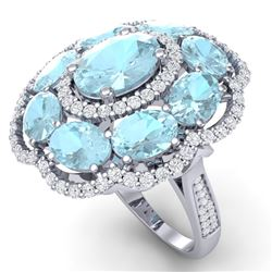 14.89 CTW Royalty Sky Topaz & VS Diamond Ring 18K White Gold - REF-218H2W - 39195