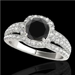 2 CTW Certified Vs Black Diamond Solitaire Halo Ring 10K White Gold - REF-102M2F - 34001