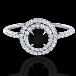 1 CTW Micro Pave VS/SI Diamond Solitaire Ring Double Halo 18K White Gold - REF-70K8R - 21609