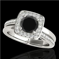 1.33 CTW Certified Vs Black Diamond Solitaire Halo Ring 10K White Gold - REF-70H2W - 34153