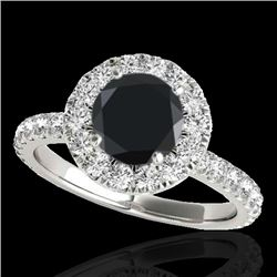 1.75 CTW Certified Vs Black Diamond Solitaire Halo Ring 10K White Gold - REF-82F8M - 33439