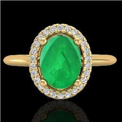 2 CTW Emerald & Micro Pave VS/SI Diamond Ring Solitaire Halo 18K Yellow Gold - REF-56H9W - 21010