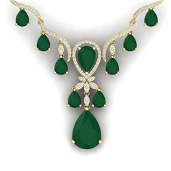 37.14 CTW Royalty Emerald & VS Diamond Necklace 18K Yellow Gold - REF-763N6Y - 38591