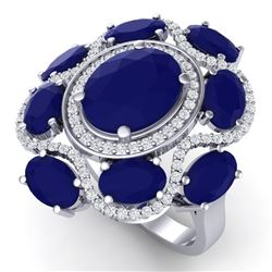 9.86 CTW Royalty Designer Sapphire & VS Diamond Ring 18K White Gold - REF-200R2K - 39297