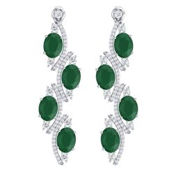 16.12 CTW Royalty Emerald & VS Diamond Earrings 18K White Gold - REF-290H9W - 38976