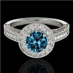 1.5 CTW SI Certified Fancy Blue Diamond Solitaire Halo Ring 10K White Gold - REF-200W2H - 33747
