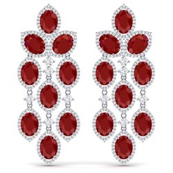 35.15 CTW Royalty Designer Ruby & VS Diamond Earrings 18K White Gold - REF-590N9Y - 38925