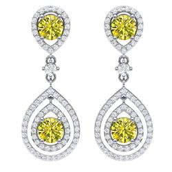 3.9 CTW Fancy Yellow SI Diamond Earrings 18K White Gold - REF-336N4Y - 39117