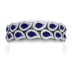 21.6 CTW Royalty Sapphire & VS Diamond Bracelet 18K White Gold - REF-800X2T - 39486
