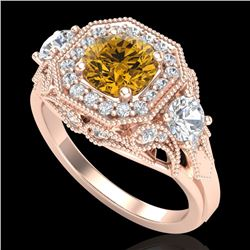 2.11 CTW Intense Fancy Yellow Diamond Art Deco 3 Stone Ring 18K Rose Gold - REF-283H6W - 38303