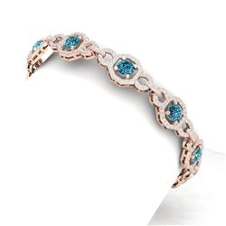 12 CTW Si/I Fancy Blue And White Diamond Bracelet 18K Rose Gold - REF-831W8H - 40116