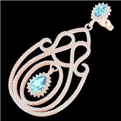 6.40 CTW Topaz & Micro Pave VS/SI Diamond Designer Earrings 14K Rose Gold - REF-303R5K - 22432