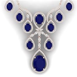 37.66 CTW Royalty Sapphire & VS Diamond Necklace 18K Rose Gold - REF-890K9R - 38563