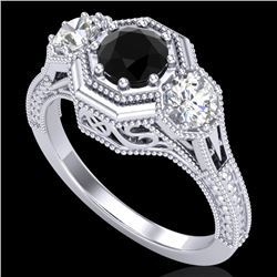 1.05 CTW Fancy Black Diamond Solitaire Art Deco 3 Stone Ring 18K White Gold - REF-132F8M - 37947