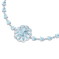 75.99 CTW Royalty Sky Topaz & VS Diamond Necklace 18K White Gold - REF-472N8Y - 39177
